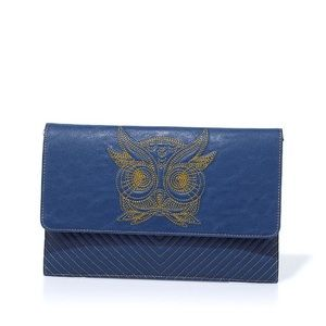 Rara Avis Iris Apfel blue owl envelope clutch gold